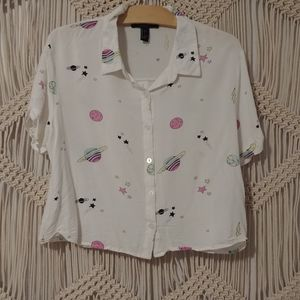 Forever 21 | Button Crop Blouse with Planets